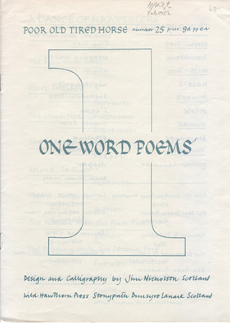 One Word Poems by Edwin Morgan