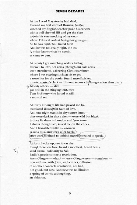 Seven Decades annotated by Edwin Morgan