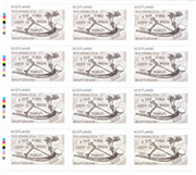Imaginary Lands stamp sheet by Edwin Morgan